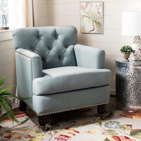 Safavieh Colin Sky Blue Linen Tufted Club Chair
