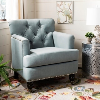 Safavieh Colin Sky Blue Linen Tufted Club Chair