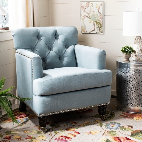 Exceptional Safavieh Colin Sky Blue Linen Tufted Club Chair