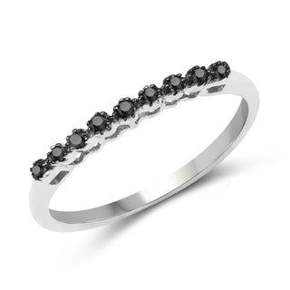 Malaika Sterling Silver 1/10ct TDW Black Diamond Slim Ring