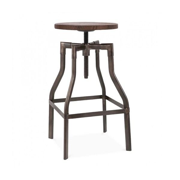 Wood Seat Bar Stool Part - 45: Machinist Rustic Wood Seat Adjustable Barstool 26-32 Inch