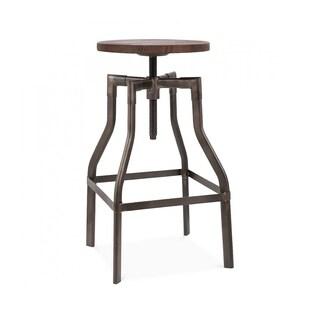 Machinist Rustic Wood Seat Adjustable Barstool 26-32 Inch