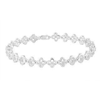 Divina Sterling Silver 1/3ct TDW Diamond Flower Link Bracelet (H-I, I3)