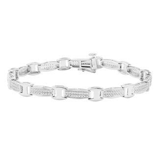 Divina Sterling Silver 1/3ct TDW Diamond Fashion Link Bracelet (H-I, I2-I3)