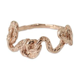 Handcrafted Pink Gold Overlay 'Love' Ring (Thailand)