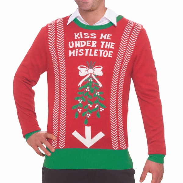 c7d2e049bebe Shop Kiss Me Under The Mistletoe Ugly Christmas Sweater - Free Shipping  Today - Overstock - 9985493