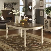 Shayne Country Antique Two-tone White Extending Dining Table by iNSPIRE Q Classic