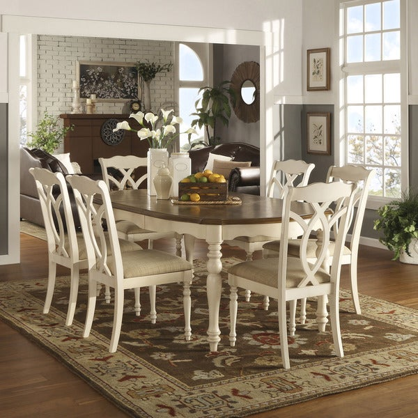 Shayne country antique two tone white extending dining set for 2 tone dining room sets