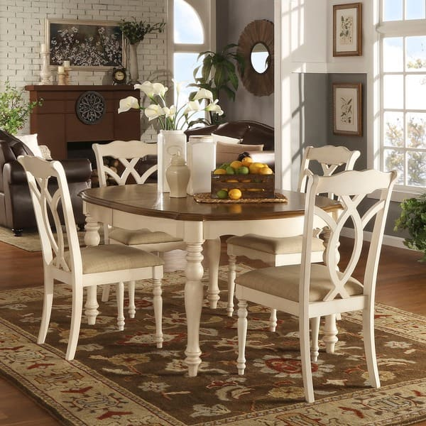 Shop Shayne Country Antique Two-tone White Extending Dining ...