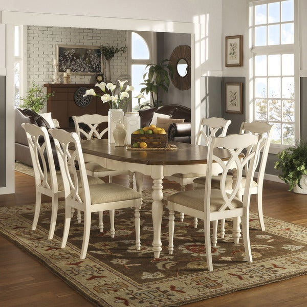 Country Kitchen Table Sets: Shayne Country Antique Two-tone White Extending Dining Set