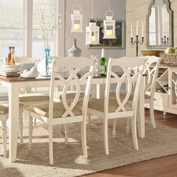 Shop Shayne Country Antique White Beige Dining Chairs (Set ...