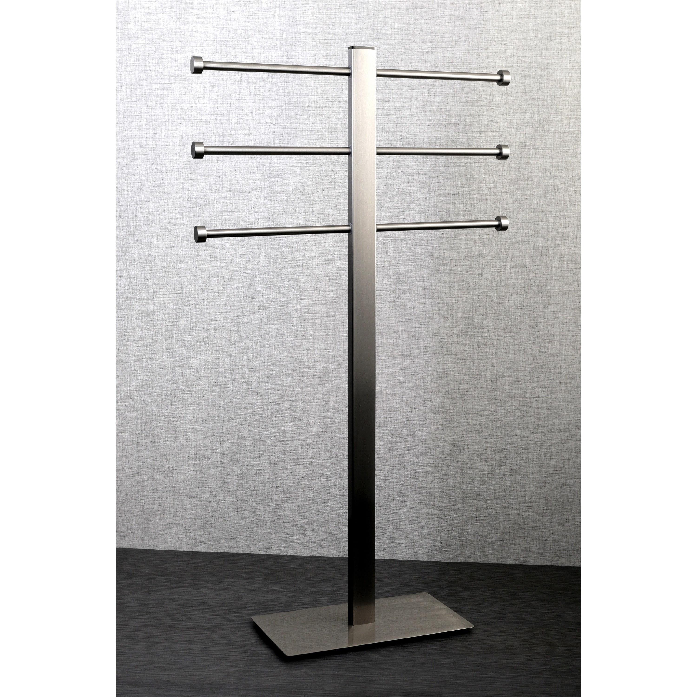 Shop Brushed Nickel Freestanding Stainless Steel Towel Holder Grey On Sale Overstock 9985517