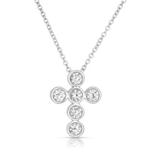 14k White Gold 1/3ct TDW Diamond Cross Necklace (H-I, I1-I2)