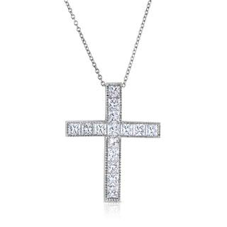 14k White Gold 1ct TDW Diamond Cross Necklace (H-I, I1-I2)
