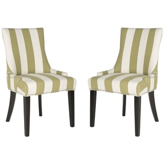 Safavieh En Vogue Dining Lester Sweet Pea Green/ White Stripe Side Chairs (Set of 2)