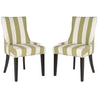 Safavieh En Vogue Dining Lester Sweet Pea Green/ White Stripe Dining Chairs (Set of 2)