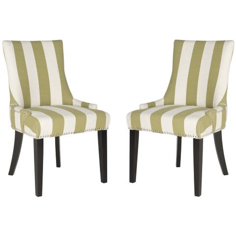 "SAFAVIEH Dining Lester Sweet Pea Green/ White Stripe Dining Chairs (Set of 2) - 22"" x 24.8"" x 36.4"""