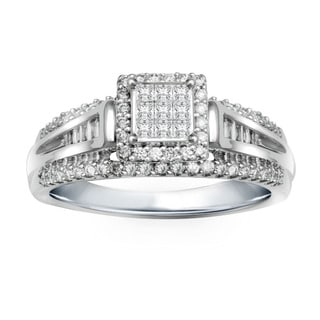 10k White Gold 1/2ct TDW Diamond 9-stone Composite Engagement Ring