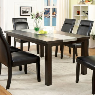 Furniture Of America Garthe Dark Walnut Dining Table With Stone Insert
