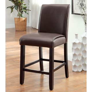 Dremis Dark Walnut Leather Counter Height Chair (Set of 2) by FOA