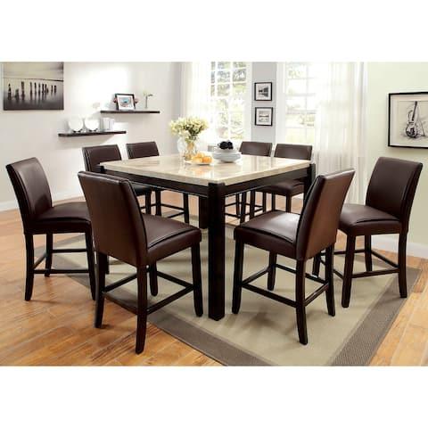 Furniture of America Koby Walnut 9-piece Counter Dining Set