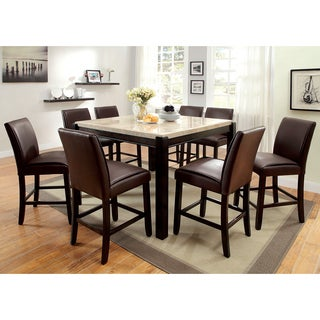 Furniture of AmericaI Joreth 9-piece Counter Height Dining Set with Genuine Marble