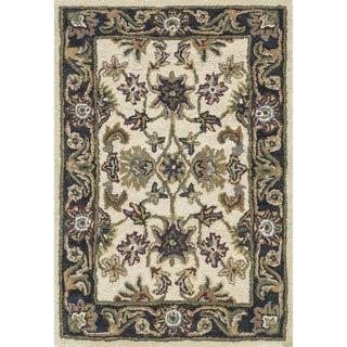 Hand-tufted Mason Beige/ Black Wool Rug (2'0 x 3'0)
