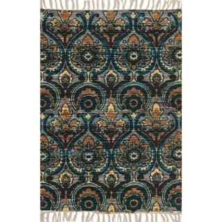 Flatweave Maria Grey/ Blue Damask Rug (1'8 x 3'0)