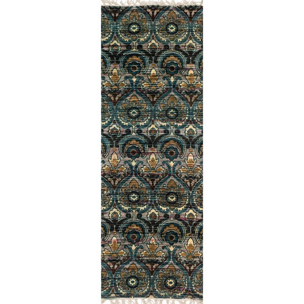 Damask Flatweave Rug: Shop Flatweave Maria Grey/ Blue Damask Runner Rug (1'9 X 5