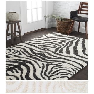 Shag Animal Design Zebra Black White Area Rug 5 X 7