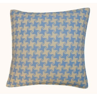 Jiti Outdoor Houndstooth Blue 20-inch Square Pillow