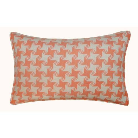 Jiti Orange Houndstooth Sunbrella Outdoor Pillow - 12 x 20 - 12 x 20
