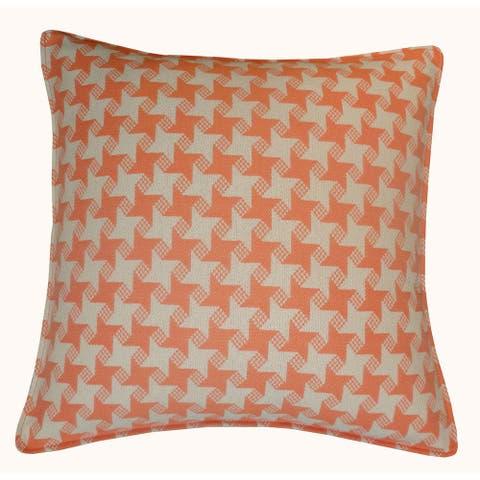 Jiti Orange Houndstooth Sunbrella Outdoor Pillow - 20 x 20 - 20 x 20