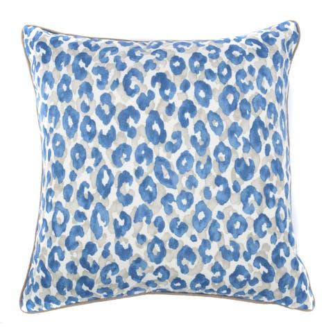 Jiti Blue Cheetah Zigzag Geometric Sunbrella Outdoor Pillow - 20 x 20 - 20 x 20