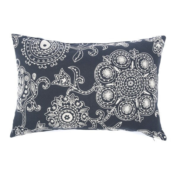 "Handmade Suzani Floral Black Cream Long Pillow - 24"" x 24"""