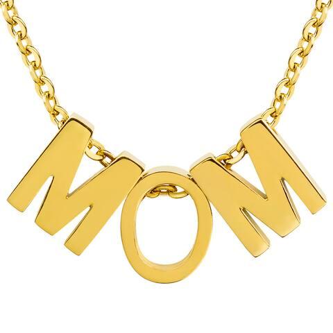 ELYA 18k Gold Overlay 'MOM' Initial Pendant Necklace