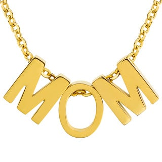 ELYA 18k Gold Overlay 'MOM' Initial Pendant Necklace