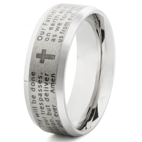 Stainless Steel Beveled Edge Lord's Prayer Band Ring (6-8mm)