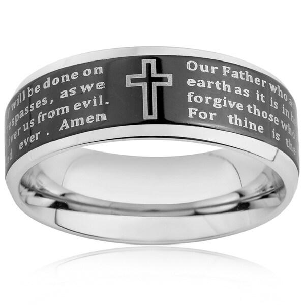 Stainless Steel Men's Beveled Edge Lord's Prayer Ring (6-8 mm)