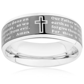 Stainless Steel Men's Beveled Edge Lord's Prayer Ring (6-8 mm)