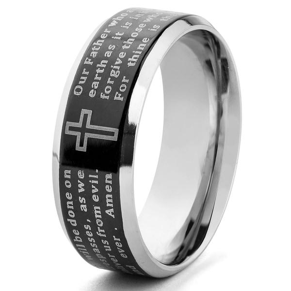 Stainless Steel Beveled Edge Lord's Prayer Ring (6-8 mm)