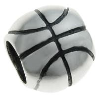 Queenberry Sterling Silver Basketball European Bead Charm
