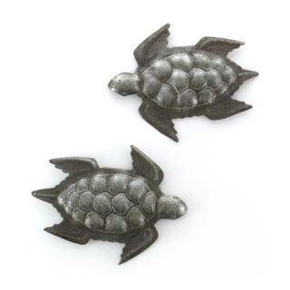 Set of 2 Handcrafted Recycled Steel Drum Turtles Swimming Wall Art (Haiti)