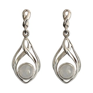 Sterling Silver Round Moonstone Classic Celtic Design Earrings (Thailand)