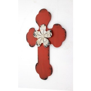 White Floral and Red Cross Wall Decor
