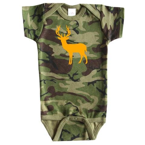 Rocket Bug Boy's Deer Silhouette and Camo Cotton Baby Bodysuit