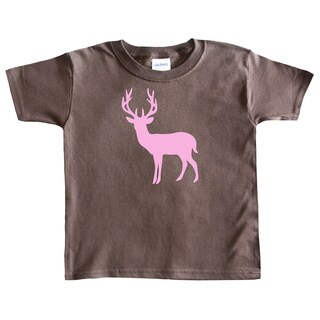 Rocket Bug Girl's Pink Deer Silhouette Cotton T-shirt (3 options available)