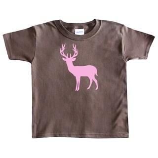 Rocket Bug Girl's Pink Deer Silhouette Cotton T-shirt