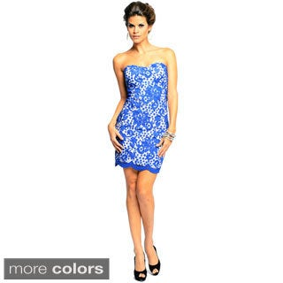 Sara Boo Allover Lace Strapless Dress