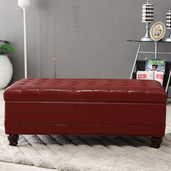 Burgundy Red Waxed Texture Faux Leather Storage Bench Ottoman with Hinge & Shop Burgundy Red Waxed Texture Faux Leather Storage Bench Ottoman ...